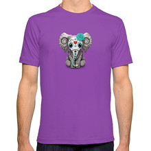 New T Shirts Unisex Funny Tops Tee Short Sleeve Broadcloth  Teal Blue Day Of The Dead Sugar Skull Baby Elephant Crew Neck Mens
