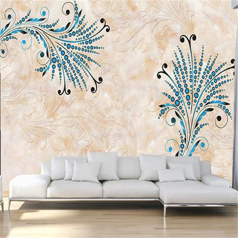European Wall Murals Custom 3D Wallpapers Marble Pattern Flowers Murals for Living Room Sofa TV Background Wallpaper Home Decor european 3d wallpaper moroccan style wall stickers waterproof kitchen toilet decoration classical pattern living room murals