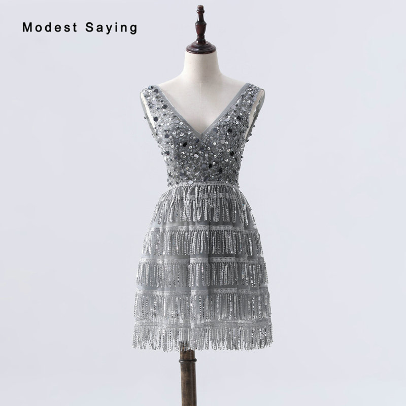 Real Grey Sexy V Neck A-Line Party Dresses Transparent Mini Beaded Cocktail Dresses 2019 With Tassel Skirt Short Girls Prom Gown