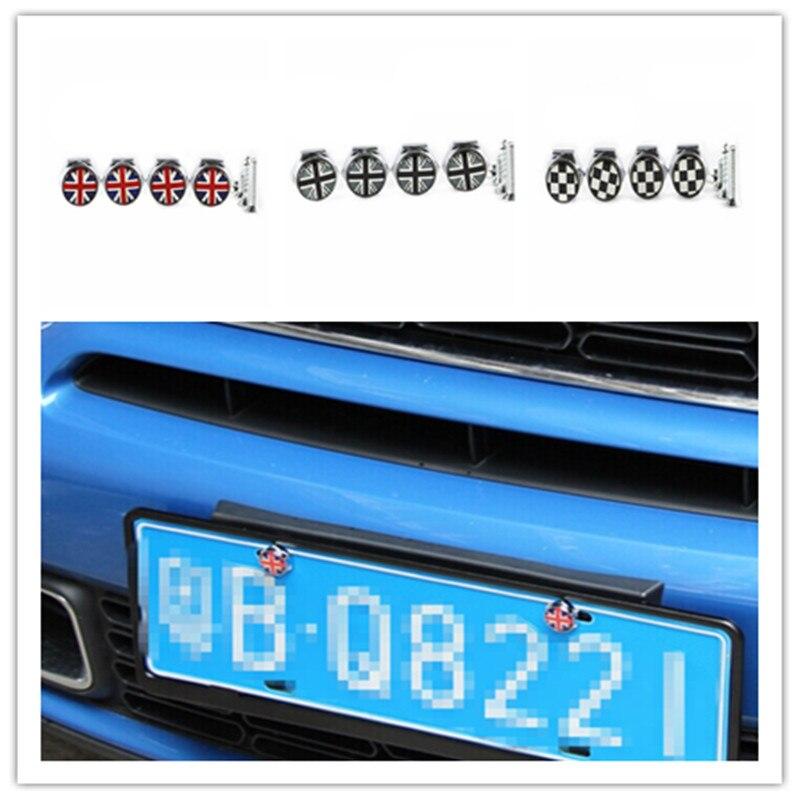 for mini cooper accessories license plate frame bolt screw caps union jack checker f55 f56 r55