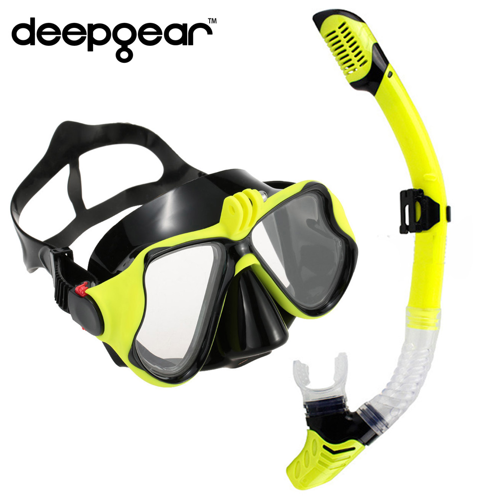 DEEPGEAR Myopia Diving Set Camera mount scuba mask diving snorkel Black silicone mask for adult Optical scuba mask for nearsight tempered glass myopia snorkel set adult scuba diving mask gopro camera mount dry diving set deepgear brand scuba snorkel gears