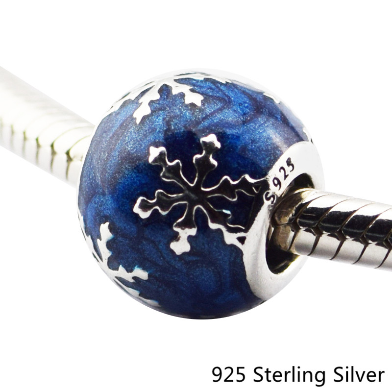 Wintry Delight Snowflake Blue Enamel Silver Authentic 925 Sterling-Silver-Jewelry DIY Be ...