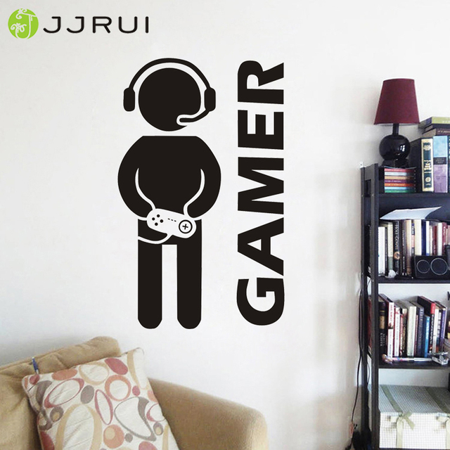 JJRUI Video Game Joystick Gaming Gamer Wall Decal Room Cool PS4 Art Decor  Sticker Gifts VInyl