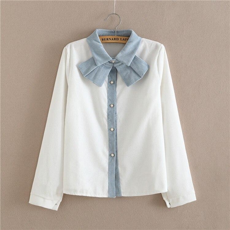 2019 New Corduroy Blouse Women Bowknot Detachable Patchwork Cute Blouse For Girls Students Shirt Tops Long Sleeve T61107 Blouse Jacket Blouse Satinblouse Blouses Aliexpress