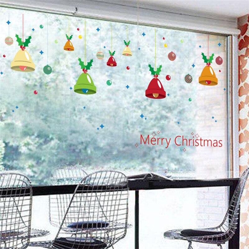 % Merry Christmas Bells Nástěnné samolepky Obývací pokoj Obchod Sklo Dekorace Diy Domácí Obtisky Festival Vánoce Nástěnné umění Vánoční dárek