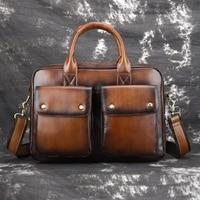 New Men Business Cross Body Messenger Shoulder Handbag Luxury Male Genuine Leather Tote Briefcase Computer Bags Top Handle Bag