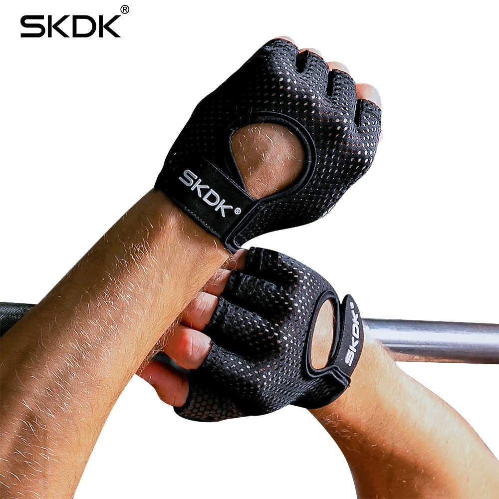 SKDK ハーフフィンガー弾性フィットネスジムグローブシリコーン抗スリップ通気性ボディービルワークアウトクロスフィット手袋 Guantes Gimnasio