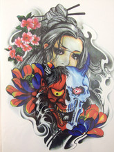 21 X 15 CM Devil Girl Under The Mask Temporary Tattoo Stickers Temporary Body Art Waterproof #114
