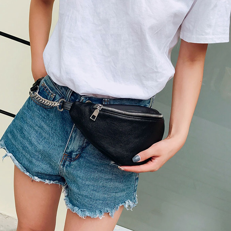 2019 Casual Chain Lychee Leather Fanny Pack Waist Bag Casual Waterproof Antitheft Women Walking Shopping Belt Multi-function Bag