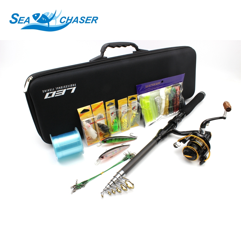 High Quality All fishing Telescopic Fishing Rod Reel Combo Set Full Kit Fishing Spinning Reel Pole Set Fish Line Lure Hook Bag outlife outdoor fishing spinning reel rod kit set with fish line lure hook bag