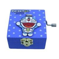 Деревянный милый кот музыкальная шкатулка Творческий дом Декор ручной коленчатого механические заводные ремесла украшения Doraemon музыкальн...