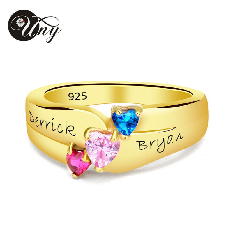 UNY Rings 925 Sterling Silver Personalized Mothers Wedding ring Custom Birthstone Engrave Family Heirloom Rings Love DIY Ring
