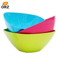 ORZ 3PCS/SET European Square PP Plastic Fruit Bowl Colorful Salad Bowl Food Container Vegetable Fruit Storage Container
