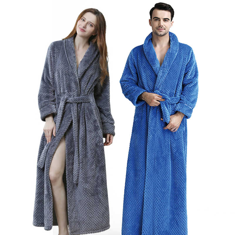 dac56aa30d ... Extra Long Dobby Coral Fleece Bathrobe Women Men Flannel Winter Warm Kimono  Bath Robe Femme Lingerie ...