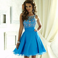 Ocean Blue Homecoming Dresses 2016 O-Neck Beaded Rhinestones A Line Prom Chiffon Cocktail Party Gowns 8th Grade Graduation