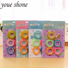6Pcs=1sets Creative Kawaii Candy Colors Transparent  Adhesive Tape And Single-Side Cutter Combination Suit Stationery