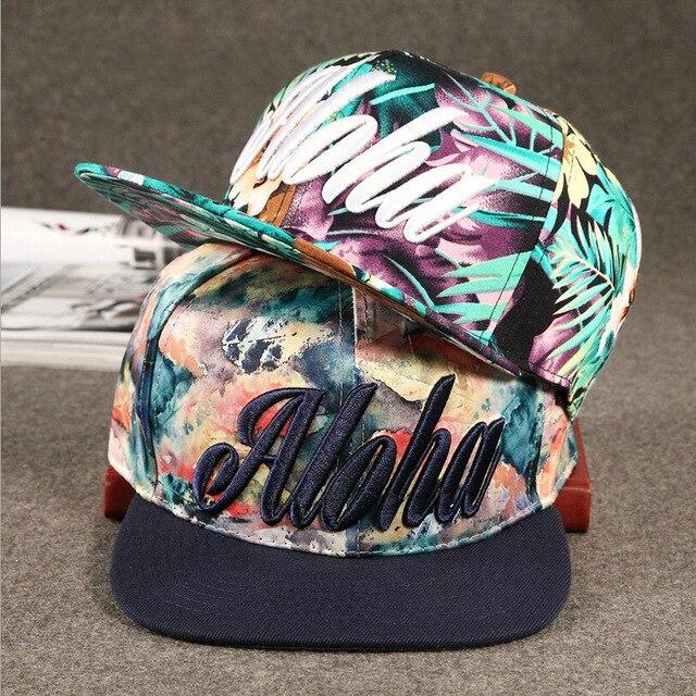 7dabd0f8e21 baseball cap new hat aloha embroidery flower women snapback baseball hat  Flat brim snapback baseball cap hip-hop hat Men Women