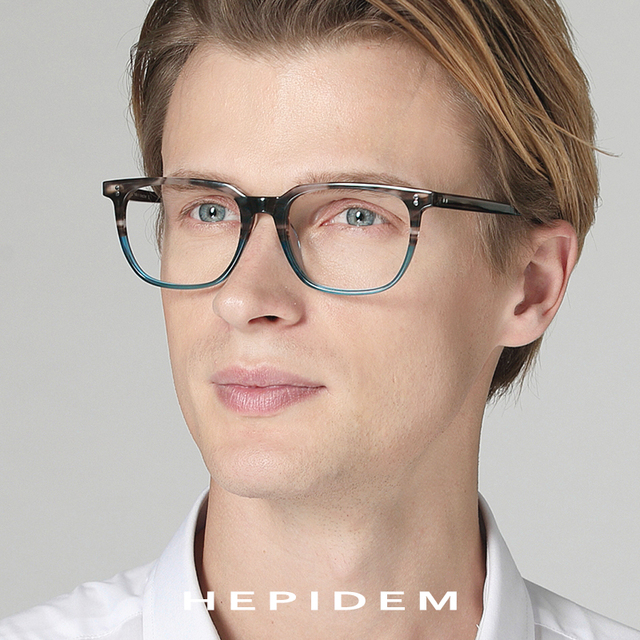 Acetate Glasses Frame Men Square Prescription Eyeglasses 2019 New Women Male Myopia Optical Frames Clear Spectacles Eyewear 9114