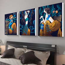 Picture Canvas Painting 3 Panels Modern Abstract ethnic girl On Wall Art Cuadros Home Decor For Living room and bedroom No Fram(China)