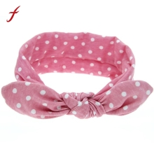 Cute Baby Apparel Accessories Headpiece Headwear Headband Kids Hot Sale Rabbit Ears Elastic Wave Point Bowknot Headband Women cheap feitong Girls Cotton Children Fashion Headbands Solid