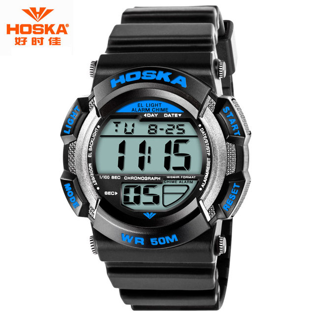 Watch Men Luxury Brand Famous HOSKA Fashion Alarm Hour Luminous Back Light Elastic Band Shockproof Waterproof Digital-Watch H007