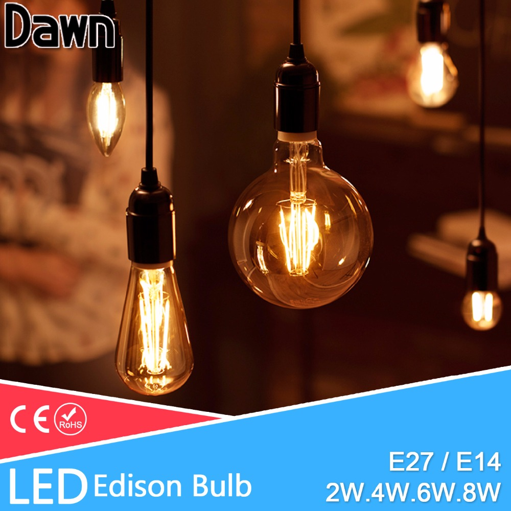 Lampada LED Filament Glass Light Edison Blub Lamps Dimmable 220V LED Edison Chandelier E14 E27 240V Vintage Led Bulb 2W 4W 6W 8W