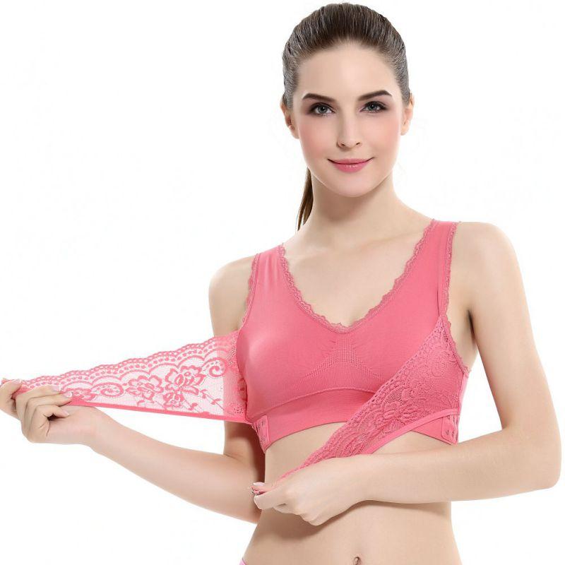 Bra For Women Sexy Lingerie Lace Solid Color Cross Side Buckle Wireless Push up Bra Sports Underwear Breathable Sleep Bras in Bras from Underwear Sleepwears