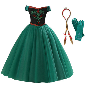 Girls Anna Princess Dress Child Sleeveless Beading Anna Elsa Cosplay Costume Kids Party Halloween Birthday Fancy Dress Clothes