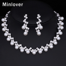 Minlover 2016 Fashion Jewelry Simulated Pearl Pendant Necklace & Earrings for Women Rhinestone Wedding Jewelry Set TL347