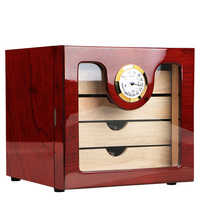 Elegant COHIBA 4 Drawers High Glossy Finish Wooden Cigar Cabinet Humidor Storage Box W/ Electronic Hygrometer Humidors