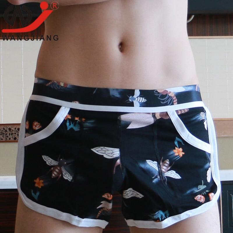 Männer Unterwäsche Boxer Shorts Sexy Homosexuell Unterwäsche Badehose Lose Männer Shorts Hause Unterhose Einfarbig Cueca Boxer Unterwäsche Männer Boxer Unterwäsche & Schlafanzug