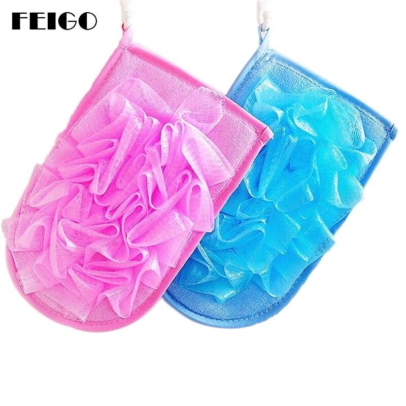 FEIGO 1Pc Bath Ball/Bath Sponge/Bath Flower Head Body Shower Cleaning Skin Care Body Brush Spa Exfoliating Mitts Gloves Wash F01