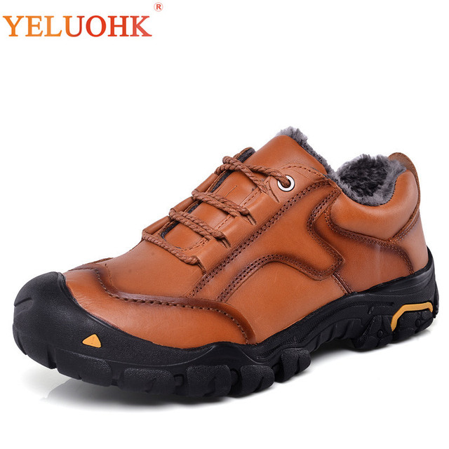 38-50 Natural Leather Men Boots Winter Fur Warm Plus Size Winter Boots Men 2018 New High Quality Winter Shoes Men