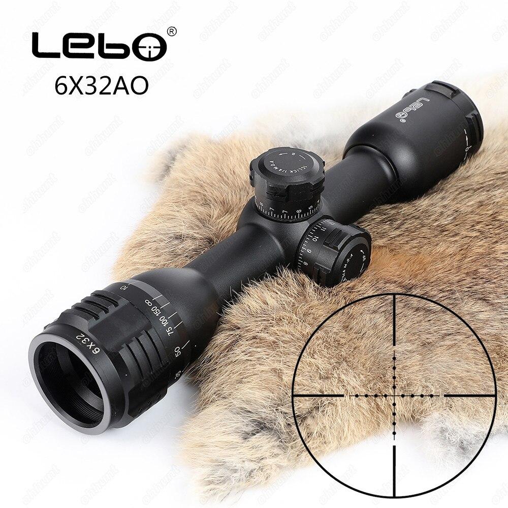 LEBO 6x32 AO Mil-Dot Vetro Acidato Reticolo Compatto Blocco Tattica Mirino Ottico Portata del Fucile Per La Caccia Riflescope