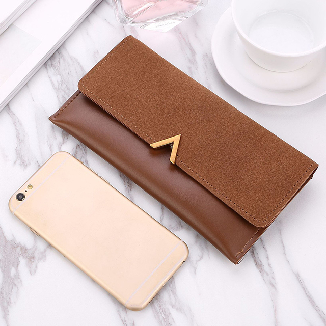 Long V Women Leather Bifold Wallet High Quality Hasp ID Card Holder Billfold Clutch Purse Zip Pocket 1