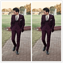 Custom Made Handsome Burgundy Men Suits Wedding Prom Tuxedos Best Man Bridegroom Wear 3 Pieces Morning Dress Jacket+Pants+Vest