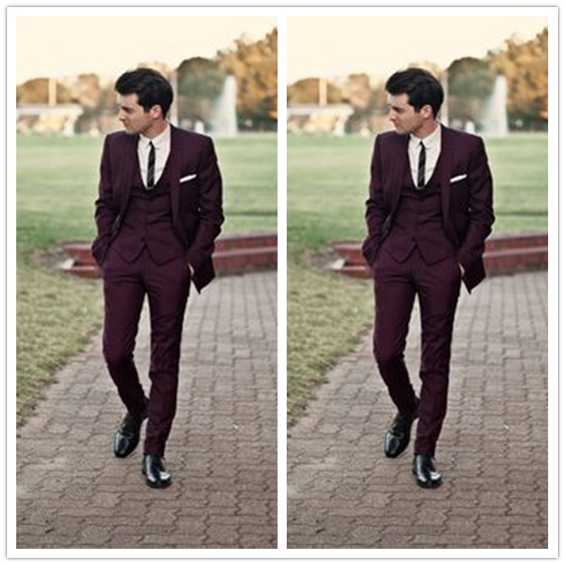 Custom Made Handsome Burgundy Men Suits Wedding Prom Tuxedos Best ...