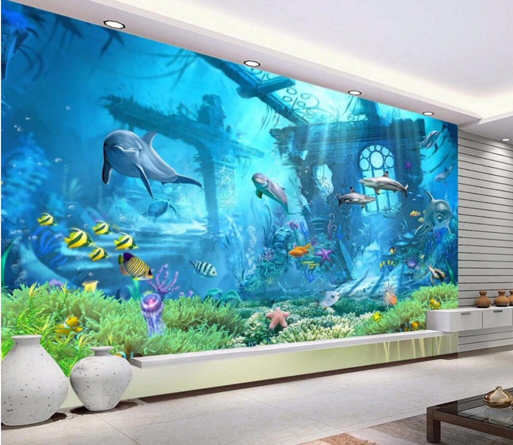 3d Room Wallpaper Custom Mural Non Woven Underwater Relics Dolphins Home Decoration Painting