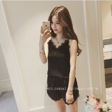Fashion Women Silk Sexy Home-wear Soft Nightgown Vest + Shorts Suit Lady Summer Comfortable Sleepwear Three Color Four Sizes