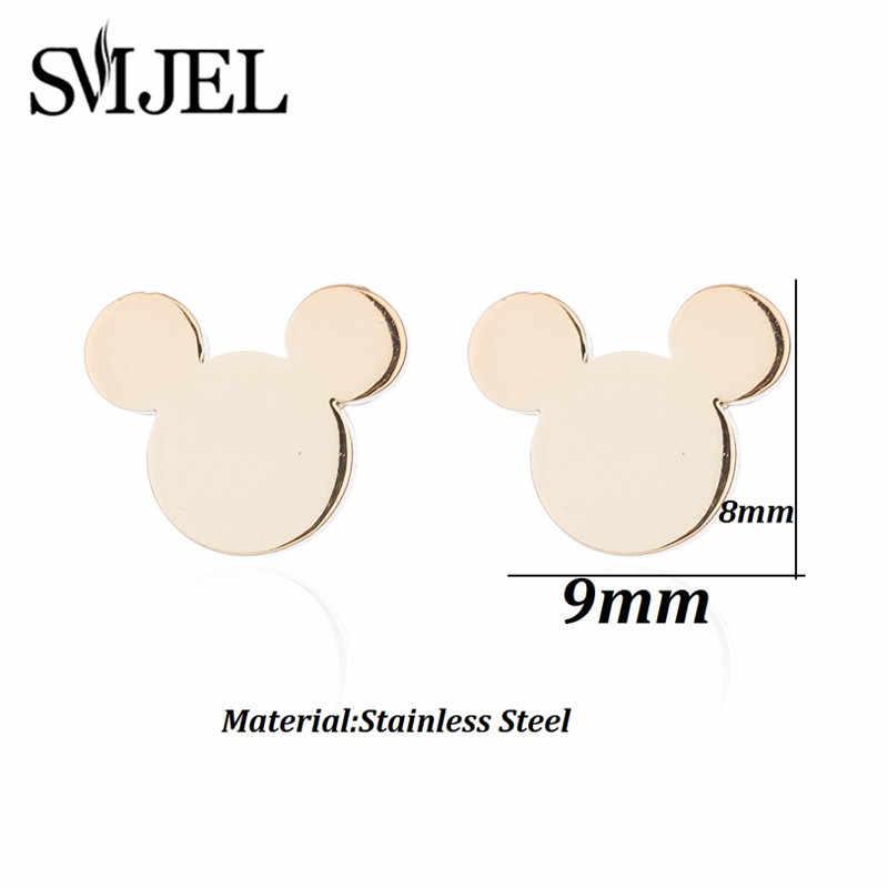 SMJEL Küçük Mickey Küpe Kadınlar için Karikatür Hayvan Fare Saplama Küpe Piercing paslanmaz çelik takı Çocuklar Hediye Brincos