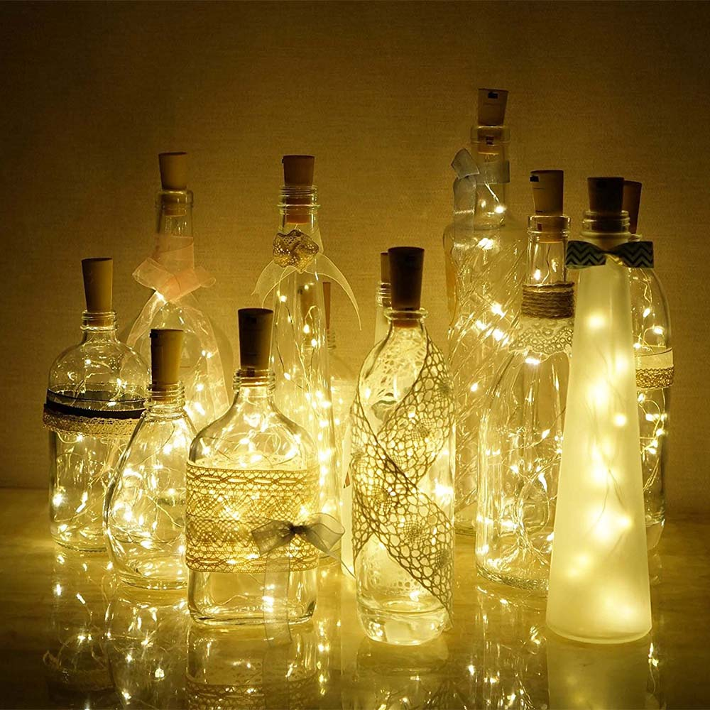 2M 20 LEDS Halloween Wine Bottle Lights Built In Battery Shape Copper Wire Colorful Fairy Mini Cork String Lights
