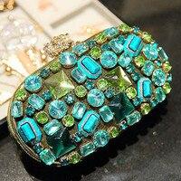2014 Малахит зеленый драгоценный камень алмаз качество ручной работы роскошные женские сумки сцепления вечерняя сумочка кошелек партия Мини...