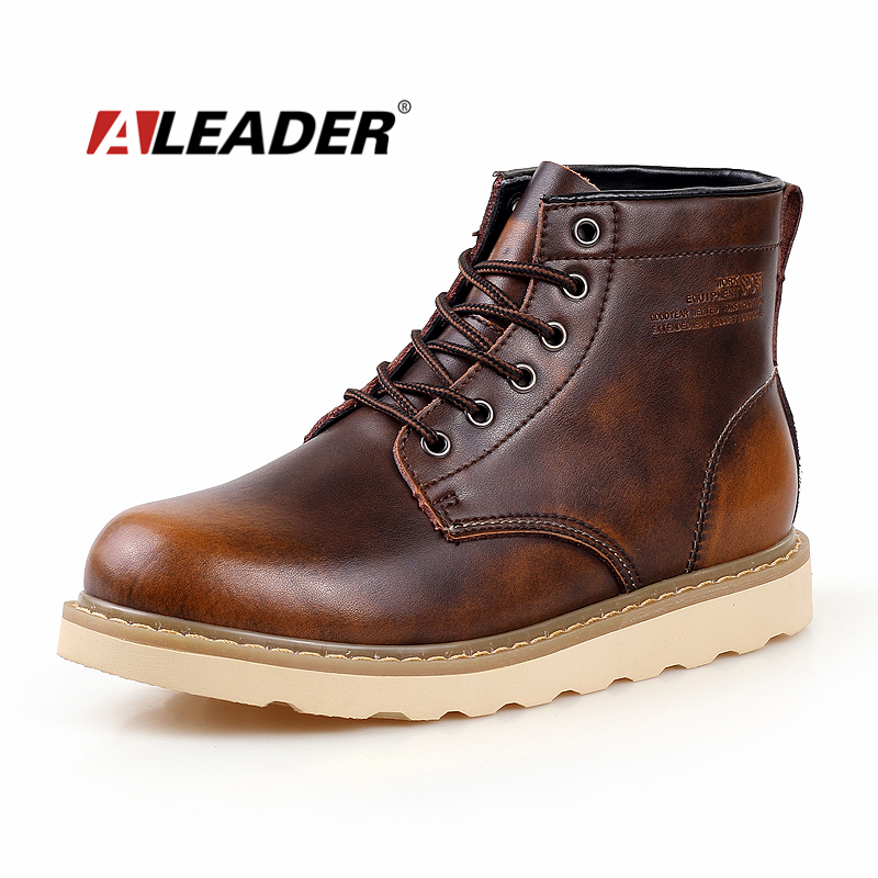 Waterproof Mens Boots Autumn Leather Shoes 2015 Casual Men's Martin Boots Fashion Ankle Western Boots Cowboy bota masculino fashion pointed toe lace up mens shoes western cowboy boots big yards 46 metal decoration