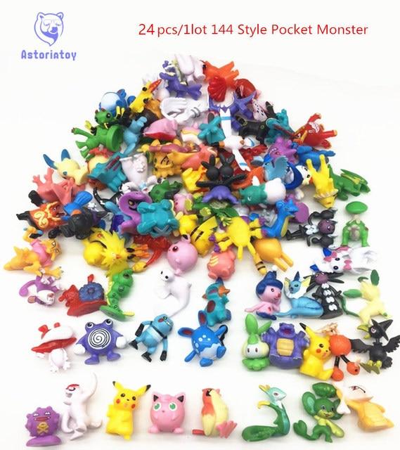 24 pcs 144 Estilo Japonês figuras pokeball Monstro de Bolso pikachu charizard estatueta figuras boneca lote para fonte do partido crianças