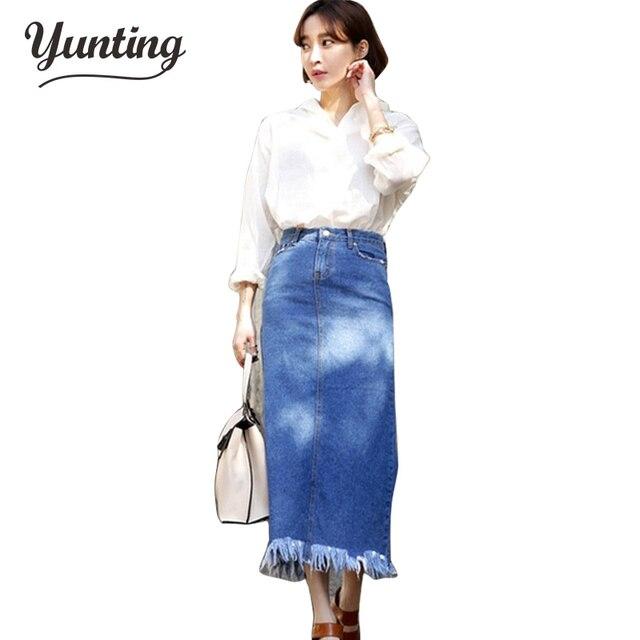 bccca55bb Faldas cortas faldas largas falda de Jean pantalones cortos ropa de mujer  Saia vaqueros femenina Formal