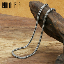 Emith Fla أصيلة 100% 925 فضة العصرية الثعلب الذيل قلادة سلاسل 2.0 مللي متر سماكة قلادة مجوهرات للرجال أو النساء