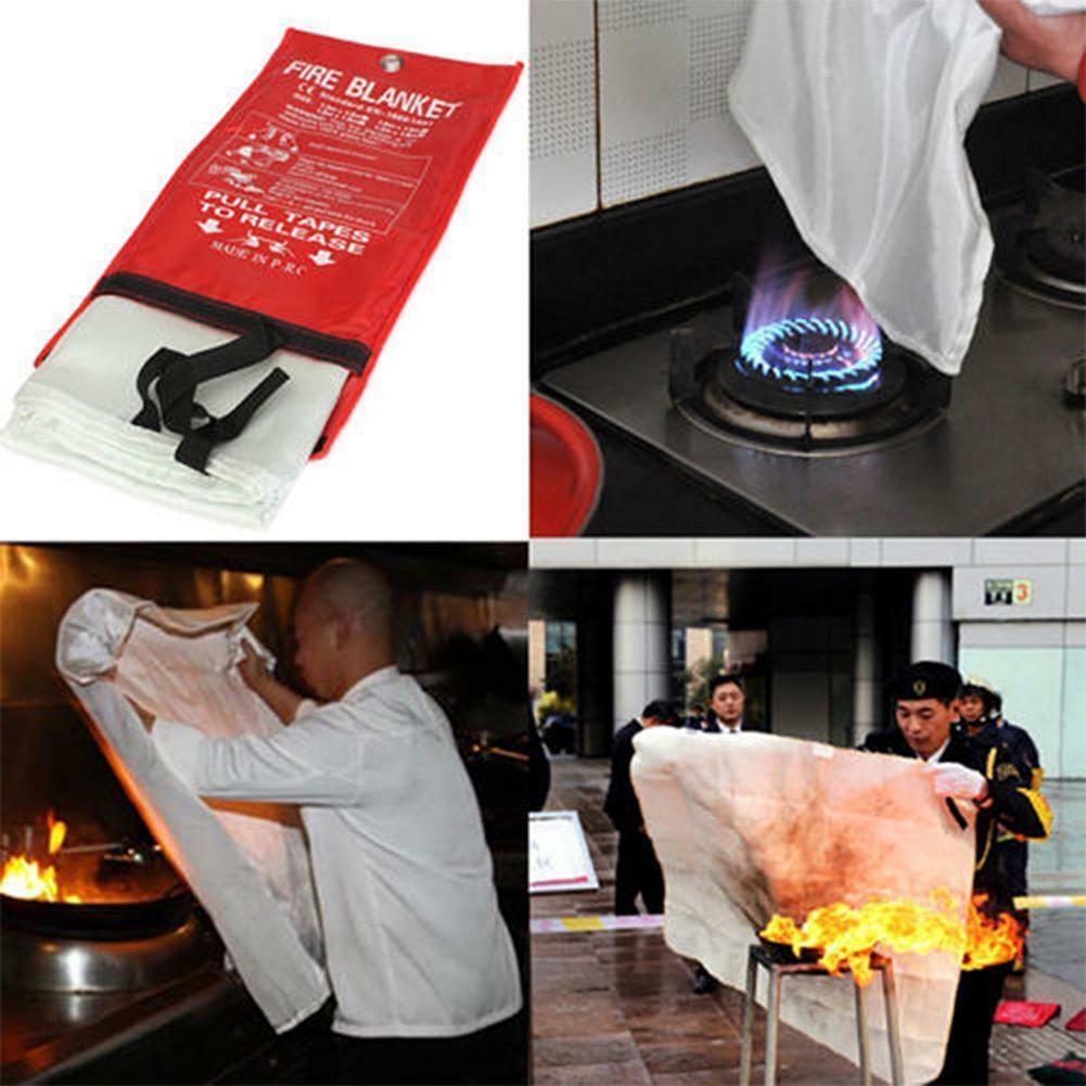 Fire Emergency Blanket Survival Fiberglass Shelter Safety Cover for Home Kitchen Camping JR Deals
