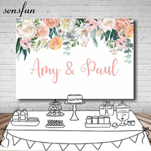 Sensfun Pink Ivory Orange Flowers Wedding Backdrop Customized White Photography Backgrounds For Photo Studio 20x10ft