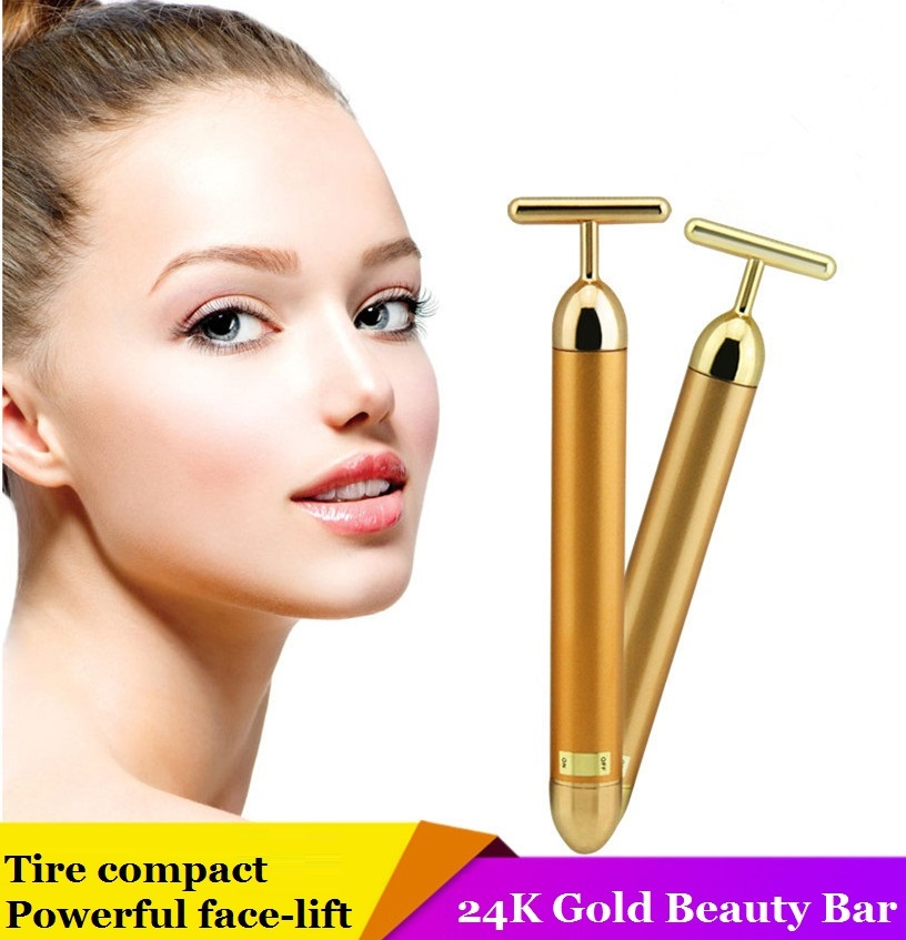Japan Beauty Instrument 24K Golden T type Beauty Bar Face massager Body shaping & Face Lift Tool Massage Machine Anti wrinkles цена