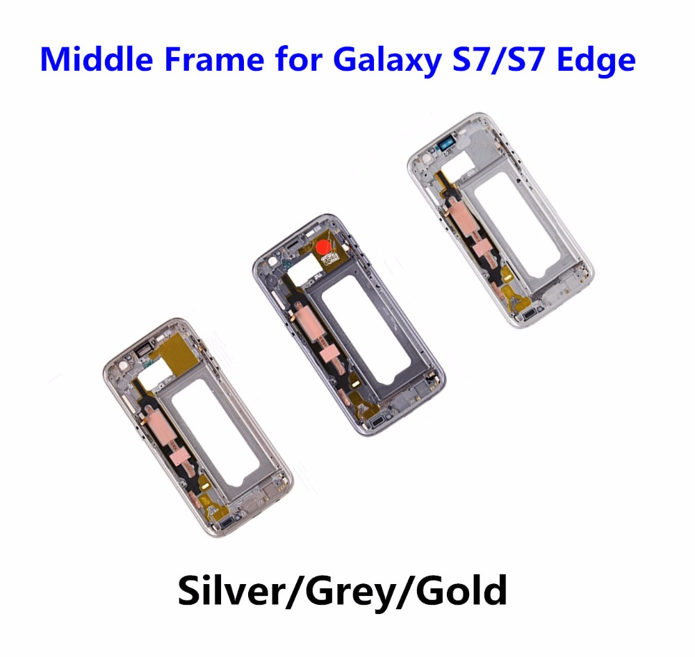 10PCS High Quality for Samsung Galaxy S7 G930 S7 Edge G935 Middle Frame Housing Metal Outer Frame Bezel Chassis +Side Button Key image